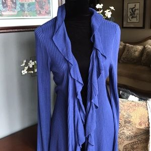 INC Long-Sleeve Ruffled Viscose Duster Cardigan